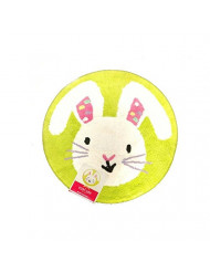 Springs Blossoms + Bloom Accent Green Bunny face Rug, Round 24""