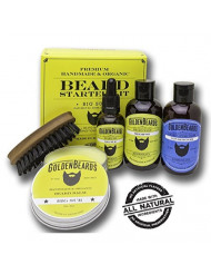 Upgraded! Best Beard Kit Includes Organic Beard Oil and Balm Shampoo & Conditioner & Military Brush. Best Perfect Gift
