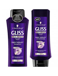 Schwarzkopf Gliss Hair Repair - Fiber Therapy For Extremely Damaged Hair - Shampoo & Conditioner Set - Net Wt. 13.6 FL OZ (400 mL) Per Bottle - One Set