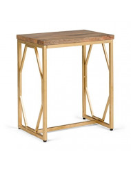 Simpli Home Selma Contemporary 13 inch Wide Metal and Wood Accent Side Table in Natural, Gold