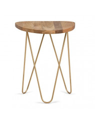 Simpli Home Patrice Mid Century Modern 18 inch Wide Metal and Wood Accent Side Table in Natural, Gold