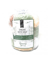 Pure Epsom Salts for Bath or Shower (5.5 Oz Each-12 packs) Sampler Pack Set --Natural Hand, Foot and Body Scrub-Scented -Stress Relief Refreshes Tired Sore Muscles-Individual Packets with Tote (Warm)