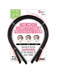 Scunci The Most Comfortable Headband Ever, Flexible No-Slip Grip, 2-pcs per Pack in Assorted Colors (1-Pack)