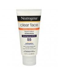 Neutrogena Clear Face Break-Out Free Liquid-Lotion Sunscreen SPF 55-3 oz, Pack of 5