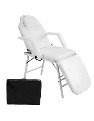 "73"" Portable Tattoo Parlor Spa Salon Facial Beauty Bed Massage White Table Chair"