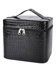 Train Case,COOFIT Travel Makeup Case Train Cases Crocodile Pattern Leather Beauty Box for Women
