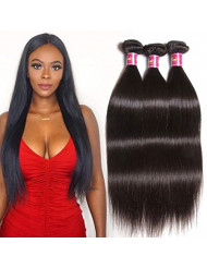 Unice Hair 100% Unprocessed Virgin Brazilian Straight Human Hair Weave Extensions 3 Pack Bundle Natural Color 95-100g/pc (12 14 16inch)