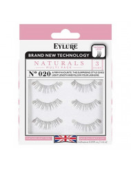 Eylure Naturals False Eyelashes Multipack, Style No. 020, Reusable, Adhesive Included, 3 Pair