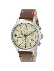 Timex Men's TW4B04300 Expedition Scout Chrono Brown/Natural Leather Strap Watch