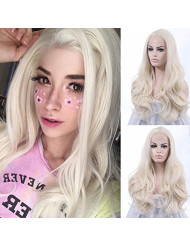 "K'ryssma Long White Wavy Synthetic Lace Front Wigs 24"" #60 Wig for Women"