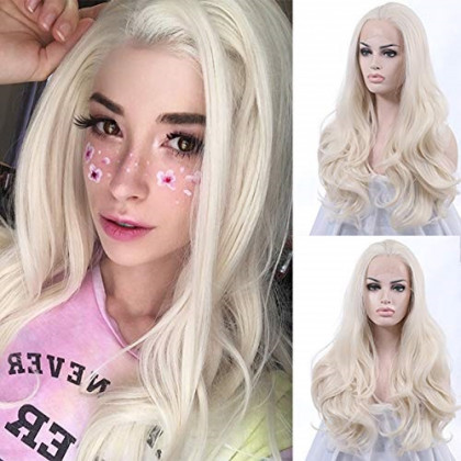 """K'ryssma Long White Wavy Synthetic Lace Front Wigs 24"""" #60 Wig for Women"""