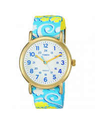 Timex Women's TW2P90100 Weekender Reversible White Swirl Nylon Slip-Thru Strap Watch