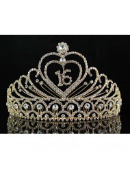Janefashions Sweet Sixteen Years Old 16 16th Birthday Party Austrian Rhinestone Crystal Princess Tiara Crown With Hair Combs Jewelry T1629g Gold