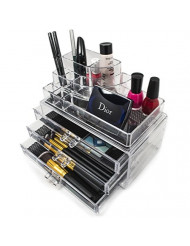 Sorbus Acrylic Cosmetics Makeup and Jewelry Storage Case Display- Includes Round Top Storage with 3 Large Drawers