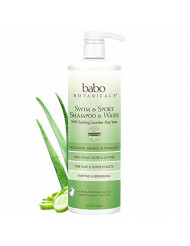 Babo Botanicals Purifying Swim & Sport 2-in-1 Shampoo & Wash with Natural Cucumber & Aloe Vera, Vegan, for Babies, Kids or Sensitive Skin - 32 oz. (Family Size)