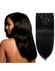S-noilite Thick Single Weft Clip in Human Hair Extensions 13inch Real Remy Hair Extensions 8pcs 80grams Clip-in Extensions Full Head for Women #1 Jet Black