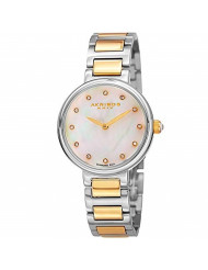 Akribos XXIV Women's Round White Mother of Pearl Watch - 12 Diamond Hour Markers on a Stainless Steel Bracelet - AK877