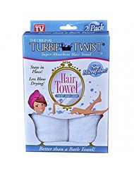 Turbie Twist Microfiber Hair Towel 2 Pack(White)