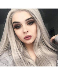 K'ryssma Fashion Ash Grey Lace Front Wig Long Natural Straight Half Hand Tied Silver Wigs for Women Glueless Gray Synthetic Wig (T4503)