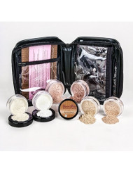 XXL KIT w/COSMETIC CASE (WARM Neutral Shade-Most Popular) Full Size Mineral Makeup Set Bare Face Foundation Powder Full Cover