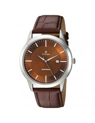 Titan Workwear Men's Designer Dress Watch | Quartz, Water Resistant, Leather Band | Brown Band and Brown Dia