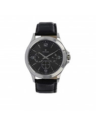 Titan Workwear Men's Chronograph Watch | Quartz, Water Resistant, Leather Band | Black Band and Black Dial
