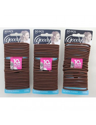 Goody Ouchless Elastics, Chocolate Cake, 30 Count (Pack of 3)
