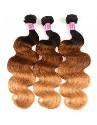 UNice Hair 8a Grade Ombre Body Wave Hair 3 Bundles, Brazilian Remy Hair Body Wave Weave, 100% Human Hair Extensions 3 Tone 1b 4 27 Color 100g/pc (18 20 22)
