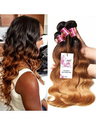 UNice Hair 8a Grade Ombre Body Wave Hair 3 Bundles, Brazilian Remy Hair Body Wave Weave, 100% Human Hair Extensions 3 Tone 1b 4 27 Color 100g/pc (16 16 16)