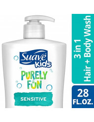 Suave Kids 3 in 1 Shampoo Conditioner Body Wash, Purely Fun Sensitive, 28 oz