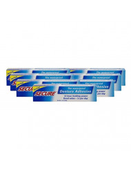Secure Waterproof Denture Adhesive - Zinc Free - Extra Strong Hold for Upper, Lower or Partials - 1.4 oz (Pack of 8)