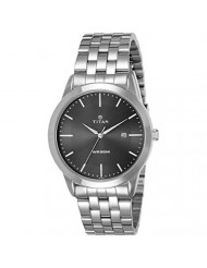 Titan Workwear Men's Designer Dress Watch | Quartz, Water Resistant, Stainless Steel Band | Silver Band and Black Dial