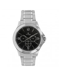 Titan Workwear Men's Chronograph Watch | Quartz, Water Resistant, Stainless Steel Band | Silver Band and Black Dial