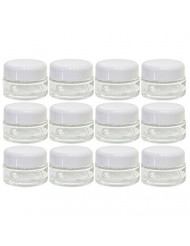 Clear Glass 0.50 oz 15 ml Thick Wall Balm Jars with White Dome Foam Lined Smooth Lids (12 Pack)