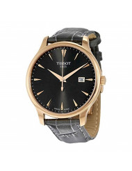 Tissot Women's 'Tradition' Swiss Quartz Gold and Leather Watch, Color:Grey (Model: T0636103608600)