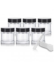 Clear Thick Glass Straight Sided Jar - 1 oz / 30 ml (6 pack) + Spatulas