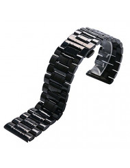 YISUYA 28mm Solid Men Black Stainless Steel Band 2.8cm Width Wrist Watch Band Strap Push-Button Hidden Butterfly Clasp for Watch
