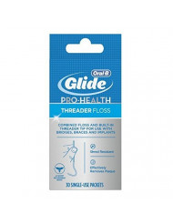 Glide Threader Floss, 30-Count Boxes of Single-Use Packets (Pack of 6)