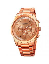 Akribos AK940 Multifunction Men's Watch - Includes day, date, and GMT 3 SubdialsDesigner Men's Watch - Stainless Steel Bracelet Wristwatch - Father's Day Gift  (AK940 Rose Gold)