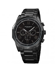 Akribos AK940 Multifunction Men's Watch - Includes day, date, and GMT 3 SubdialsDesigner Men's Watch - Stainless Steel Bracelet Wristwatch - Father's Day Gift  (AK940 Black)