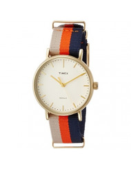 Timex Women's TW2P91600 Fairfield 37 Beige/Orange/Blue Stripe Nylon Slip-Thru Strap Watch