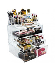 Sorbus Acrylic Cosmetics Makeup and Jewelry Storage Case Display Sets - Interlocking Drawers to Create Your Own Specially Designed Makeup Counter - Stackable and Interchangeable (Clear)