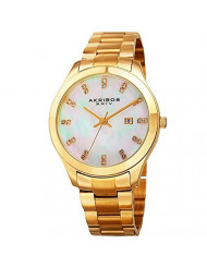 Akribos XXIV Women's Gold-Tone Case with Genuine Swarovski Crystals and White Mother-of-Pearl Dial on Gold-Tone Stainless Steel Bracelet Watch AK954YG