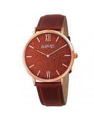 August Steiner Men's Rose Gold Watch - Exquisite Red Sand Stone Dial On Genuine Brown Leather Strap - AS8211