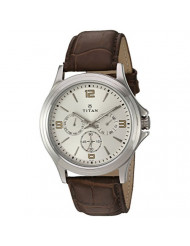 Titan Workwear Men's Chronograph Watch | Quartz, Water Resistant, Leather Band | Brown Band and White Dial