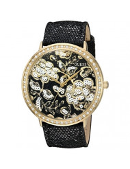 GUESS Women's U0820L1 Trendy Gold-Tone Watch with Gold Dial , Crystal-Accented Bezel and Genuine Leather Strap Buckle