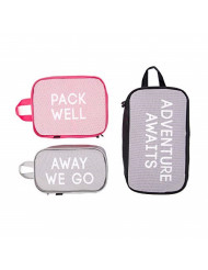 Miamica 3-Piece Packing Cube Set, Grey/Fuchsia/Black