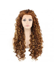 Mxangel Long Heat Resistant Synthetic Hair Highlight Auburn Celebrity Stylish Curly Lace Front Wig Natural