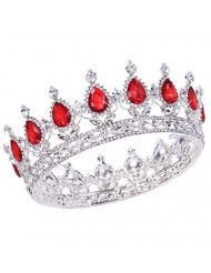 "Santfe 2"" Height Silver/Gold Plated Crystal Rhinestone Ruby Full Circle Tiara Crown Bridal Wedding Jewelry Hair Accessories (Silver+red)"