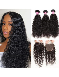 Sunber Virgin Curly Hair Bundles with Closure 10A Unprocessed Virgin Brazilian Human Hair Weave 3 Bundles Kinkys Curly Hair Bundles With Closure (20 22 24+16free Part Lace Closure)